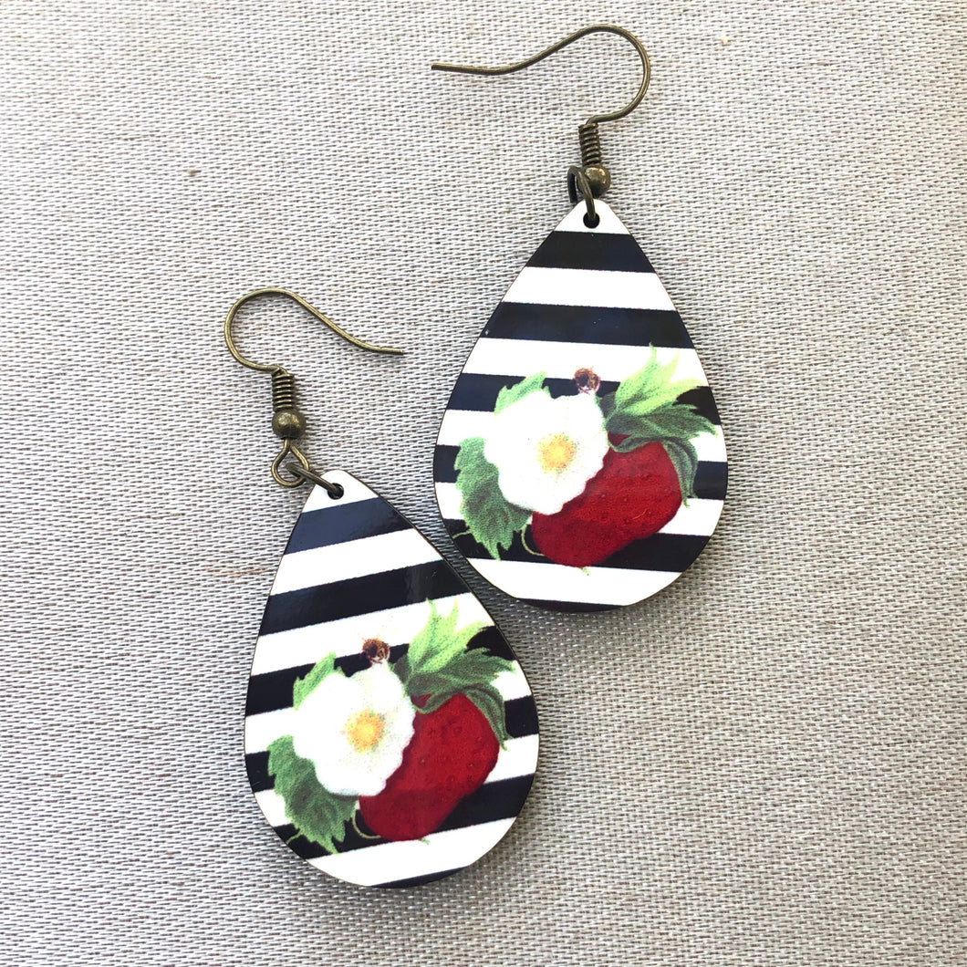 Stripe Berry Blossom Small Earrings