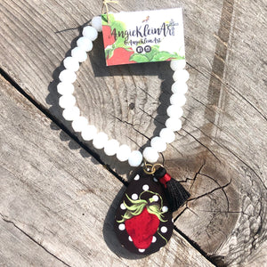 Polka Dot Sassy Strawberry Bracelet ~ White