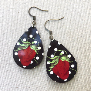 Polka Dot Sassy Strawberry Small Earrings