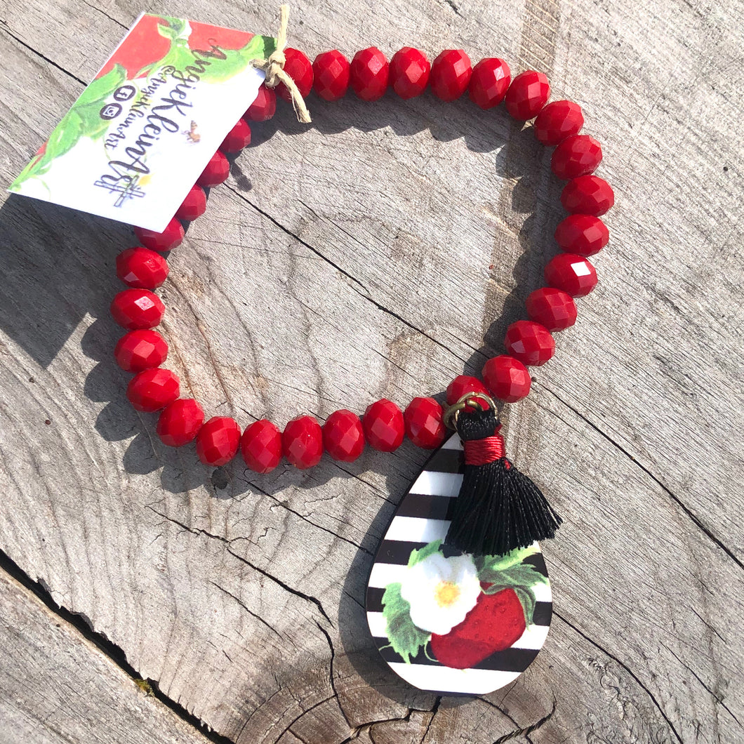 Striped Berry Blossom Bracelet ~ Red