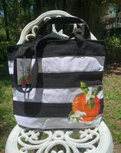 Load image into Gallery viewer, Striped Orange Blosson Art Tote