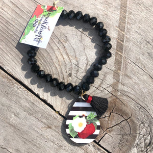 Striped Berry Blossom Bracelet ~ Black