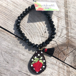 Polka Dot Sassy Strawberry Bracelet ~ Black