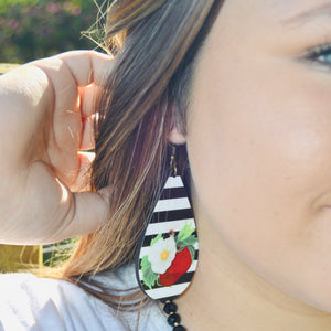 Stripe Berry Blossom Large Earrings