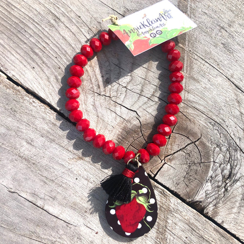 Polka Dot Sassy Strawberry Bracelet ~ Red