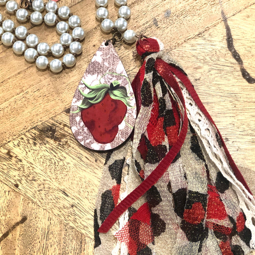 Leopard Sassy Strawberry Tassel Necklace