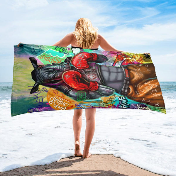 BORN TO WIN FEMALE VERSION - BEACH TOWEL - REBHORN DESIGN