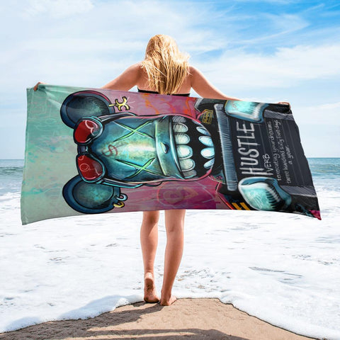 HUSTLE DEFINITION W/ BEAR BRICK BEACH TOWEL - REBHORN DESIGN