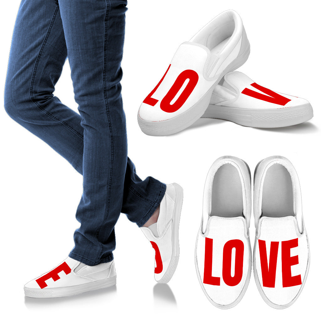 """LOVE"" SLIP ONS (RED)"