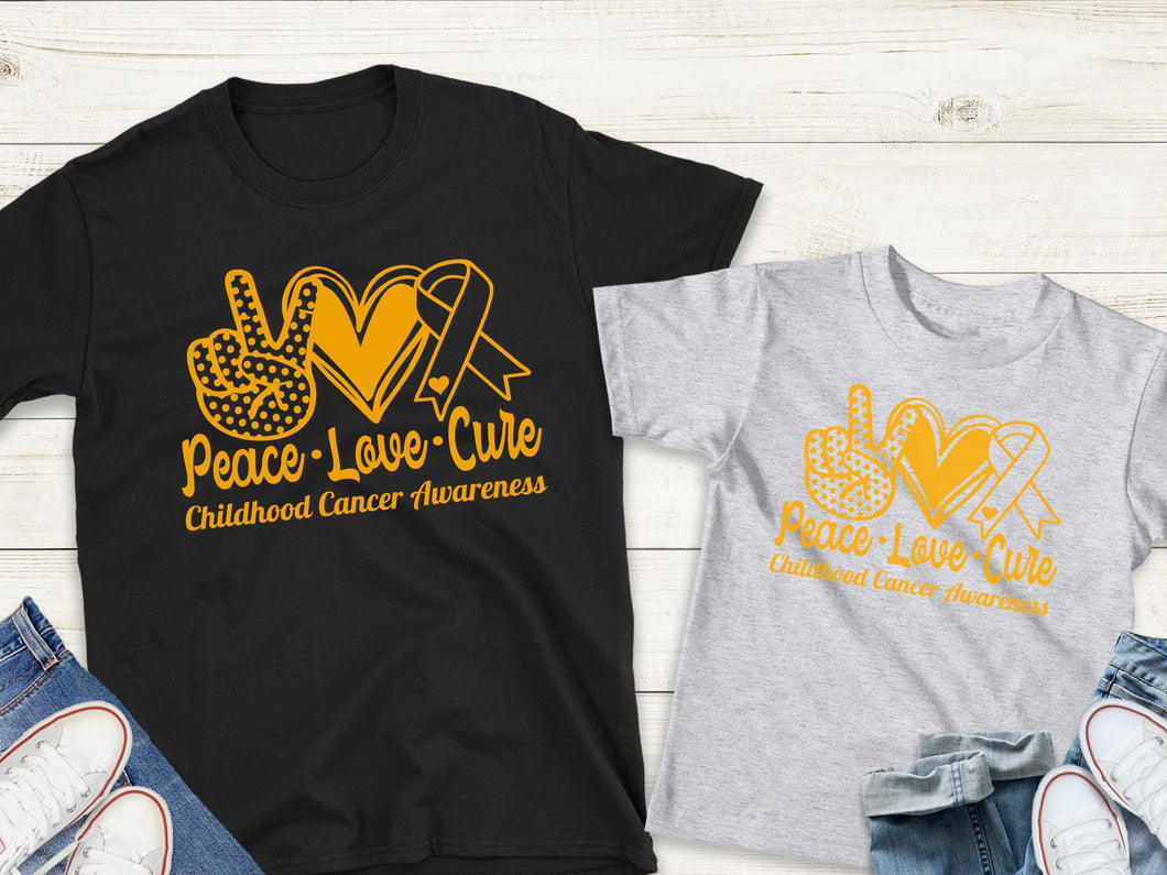 Peace Love Cure Childhood Cancer Screen Print Transfer