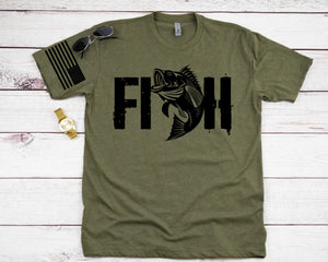 Fish with Flag Sleeve Screen Print Transfer