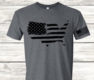 USA SHAPED FLAG with Flag Sleeve Screen Print Transfer