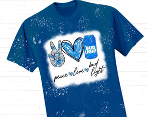 Peace Love Bud Light Sublimation Transfer