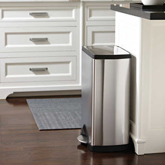 38L rectangular pedal bin - brushed finish - lifestyle in kitchen next to island image