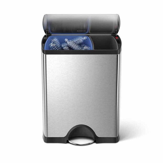 46L dual compartment rectangular pedal bin - brushed stainless steel - main image