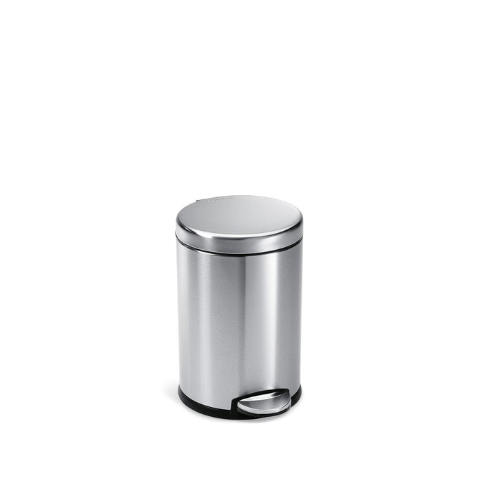 4.5L round pedal bin - brushed finish - front view main image
