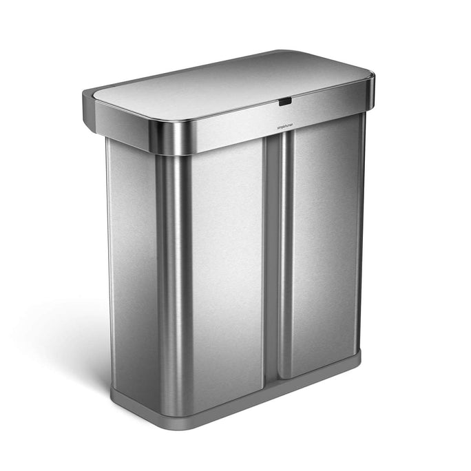 58L dual compartment rectangular sensor bin with voice and motion control - brushed finish - 3/4 view main image