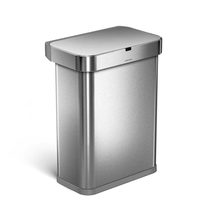 58L rectangular sensor bin with voice and motion control - brushed finish - 3/4 view main image