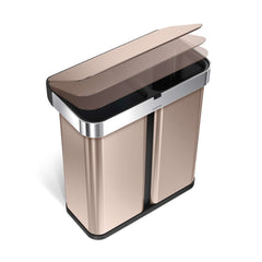 58L dual compartment rectangular sensor bin with voice and motion control - rose gold finish - lid closing image