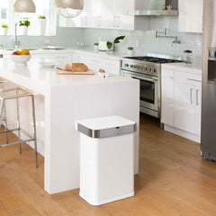 58L rectangular sensor bin with voice and motion control - white steel - lifestyle end of counter