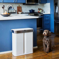58L dual compartment rectangular sensor bin with voice and motion control - white steel - lifestyle in kitchen with dog