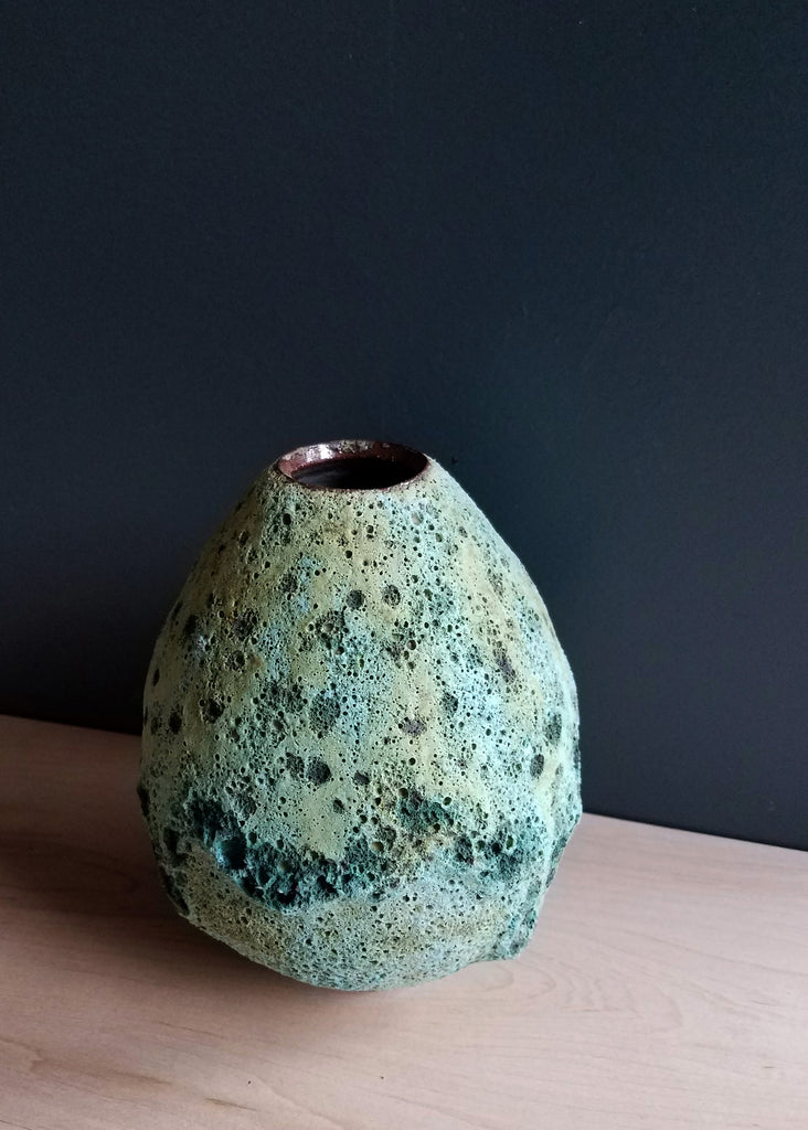 crater glaze ceramic egg vase