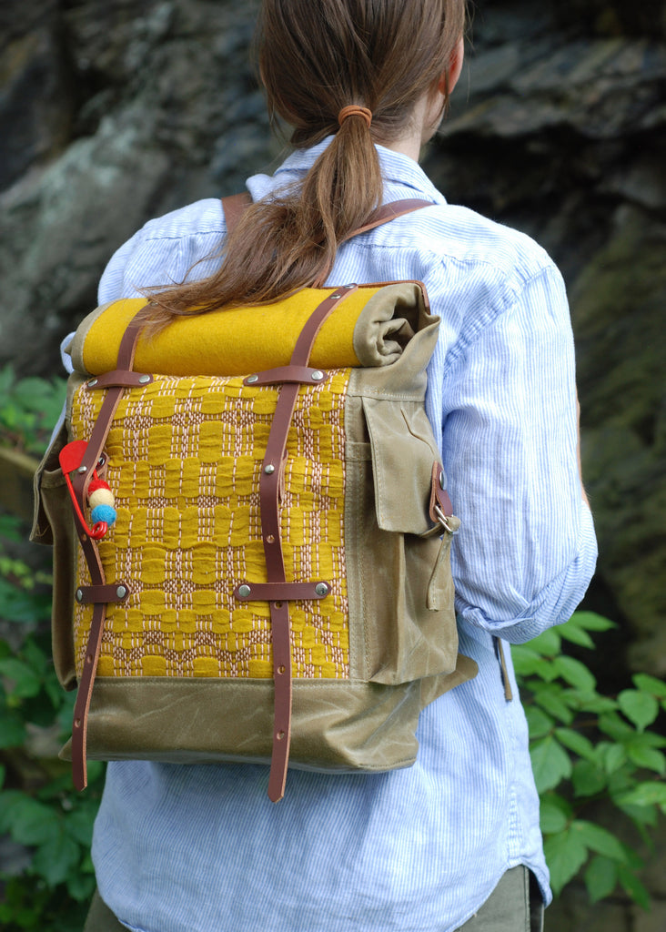 waxed canvas woven backpack