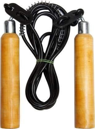 Adjustable Skipping Rope with Wooden Handle and Heavy Plastic Rope