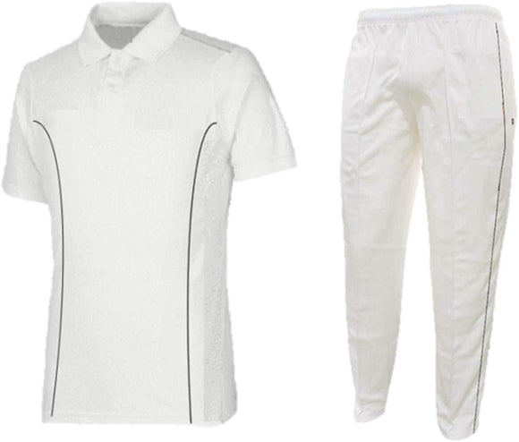 Attack Milky White Cricket Dress White Cricket T-Shirt and Trousers Combo Uniform Dress for Mens, Boys and Kids- Design May Vary