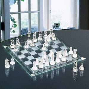 Glass Chess Board Game Set with Frosted Clear pcs