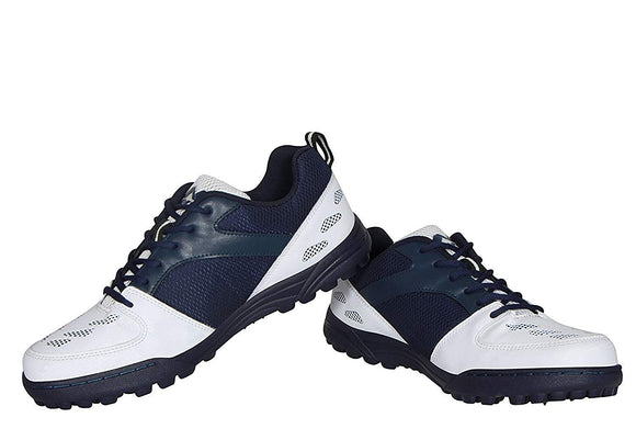 Nivia White/Navy Rubber Sole Caribbean Cricket Shoes
