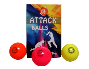 Attack Multicolor Synthetic Wind Balls for Cricket (Pack of 6)