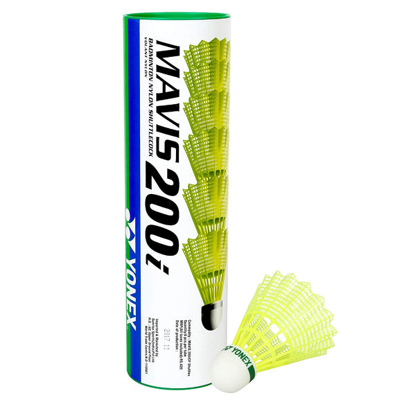 Yonex Mavis 200i Nylon Badminton Shuttlecock, Pack of 6 (Yellow)
