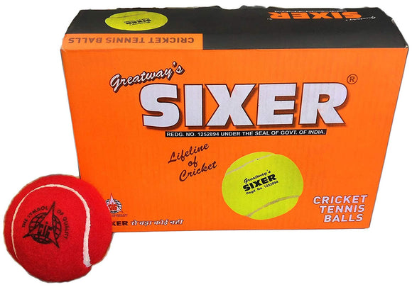 Sixer Cricket Tennis Ball  (Pack of 6, Maroon)