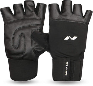 Nivia Leather Gym Gloves with Wrist
