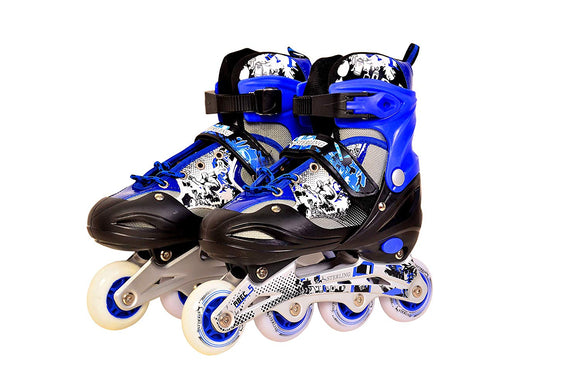 Sterling in-Line Roller Skates Adjustable Size Aluminum Base with LED Flash Light Wheels