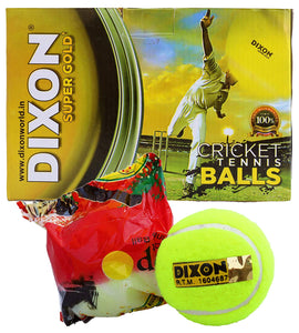 Dixon Super Gold Light Cricket Tennis Balls to Play Indoor/Outdoor (Pack of 6)