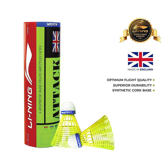 Li-Ning Attack Nylon Shuttle, Pack of 6(Badminton Shuttlecock)