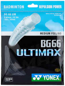 Yonex BG 66 ULTIMAX Badminton Strings, 0.65mm (Black)