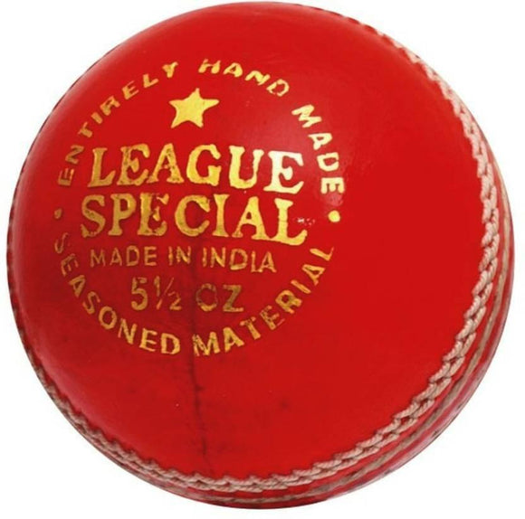 League Special Red Leather Cricket Ball Hard Hand Stitched Premium Grade Men's Four Piece