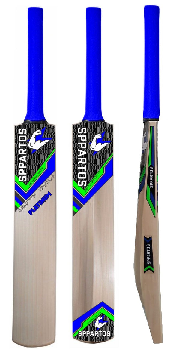 Sppartos Platinum Pro Kashmir Willow Cricket Bat with Singapore Cane Handle for Leather Ball Play with Toe Guard
