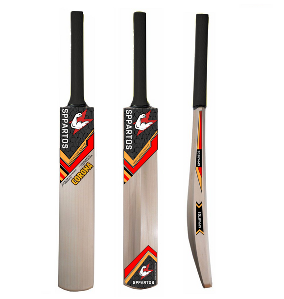 Sppartos Corona Kashmir Willow Cricket Bat with Singapore Cane Handle(Full Size Cricket Bat)
