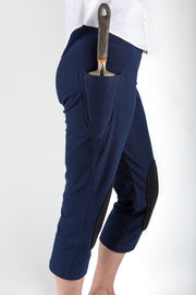 Side view of stylish gardening pants for women with protective knee pads by PowerGardening.