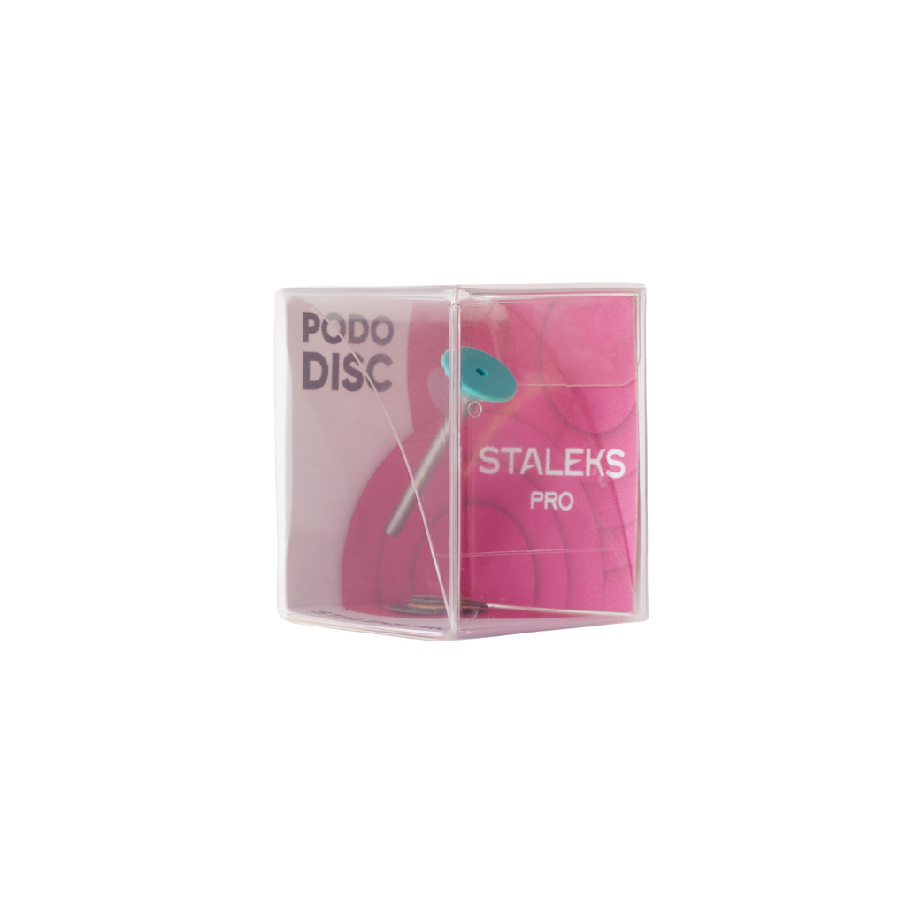 Plastic pedicure disc PODODISC STALEKS PRO ХS and set of disposable file 180 grit 5 pc (10 mm)