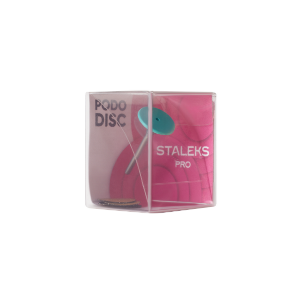 Plastic pedicure disc PODODISC STALEKS PRO S and set of disposable file 180 grit 5 pc (15 mm)