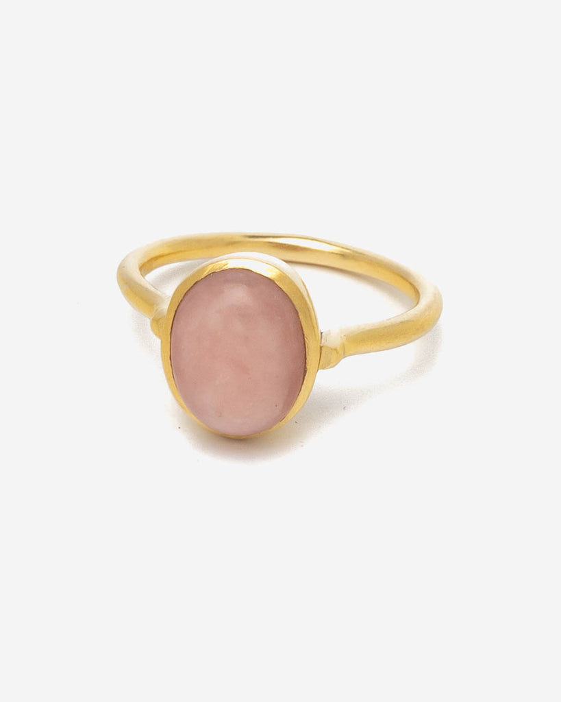 Ring Oval 9 mm - Rosa Opal