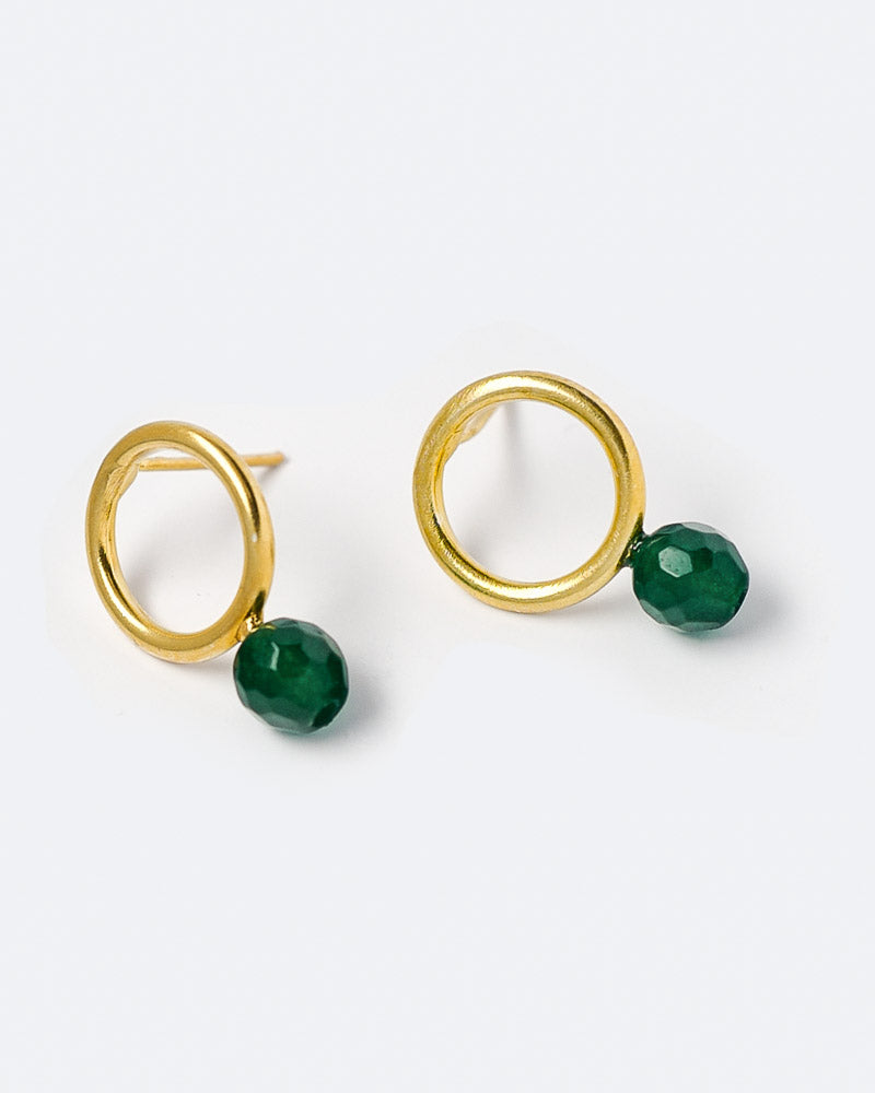 Ohrstecker Hoop and Pearl 14 mm Green Jade