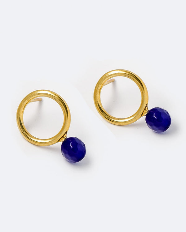 Ohrstecker Hoop and Pearl 14 mm Lapislazuli