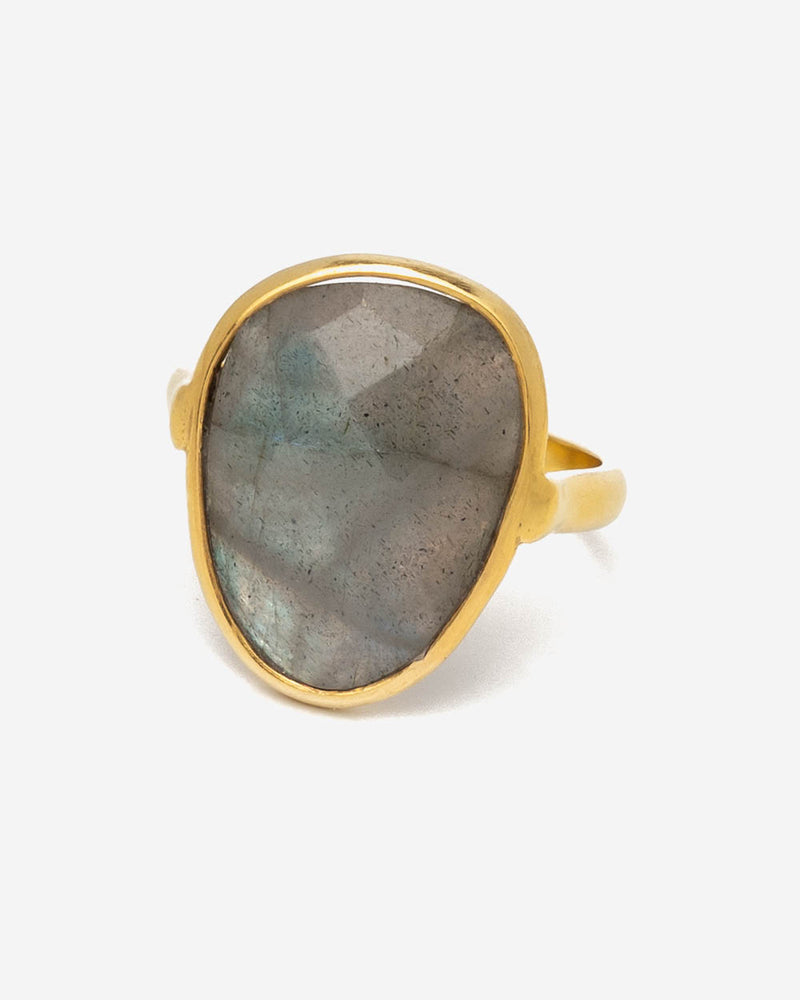 Ring Oval 17 mm - Labradorit (Grau-Blau)