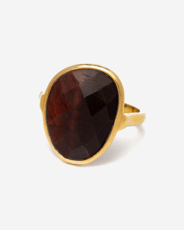 Ring Oval 17 mm - Red Tiger Eye (Rot-Braun)